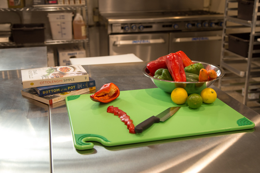 The facility features a brand new chef's kitchen, here showing off some of the fresh produce from the Central Valley.
