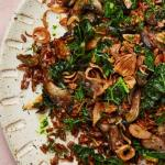 wild rice with mixed mushrooms and kale